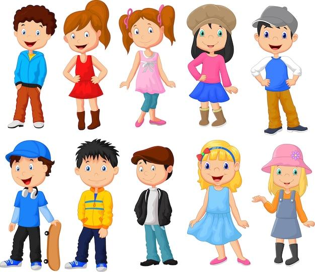 Conjunto de coleta de meninos e meninas dos desenhos animados Vetor Premium