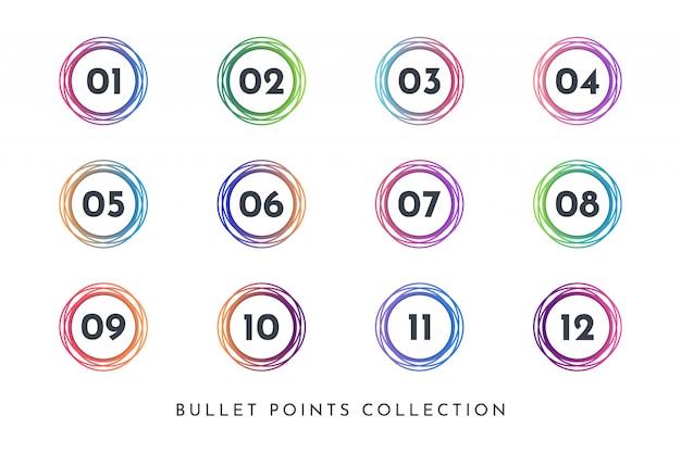 Conjunto de coleta de número de ponto de bala círculo colorido 1 a 12 Vetor Premium