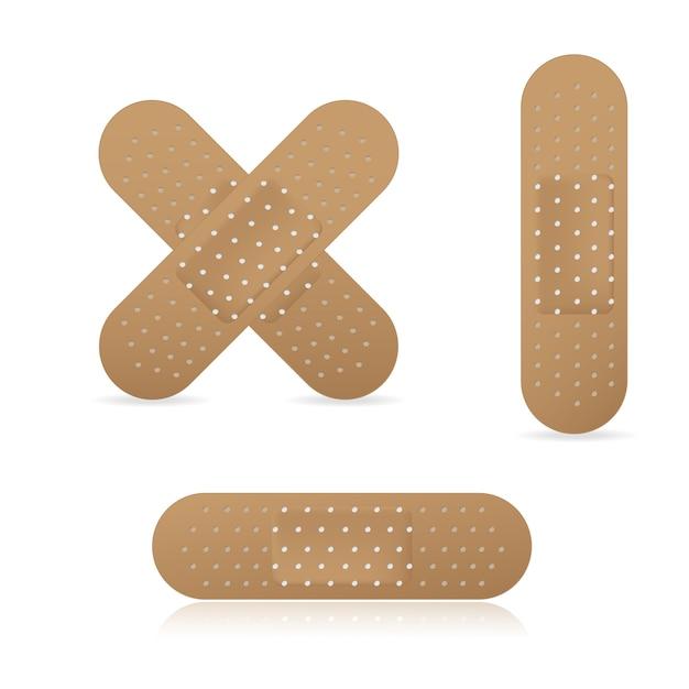 Conjunto de coleta de pensos elásticos de bandagem adesiva Vetor Premium