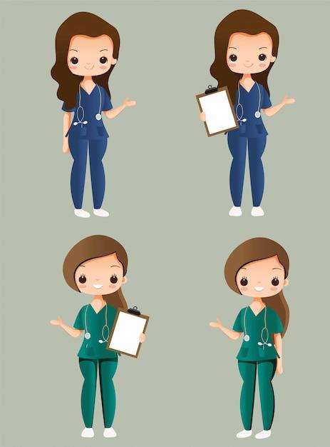 Conjunto de coleta de personagem de desenho animado bonito enfermeira Vetor Premium
