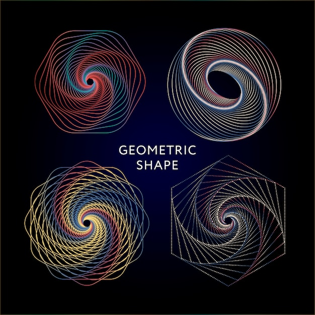 Conjunto de coleta de símbolos de geometria Vetor Premium