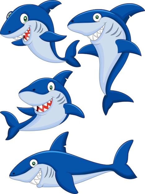 Conjunto de coleta de tubarão dos desenhos animados Vetor Premium