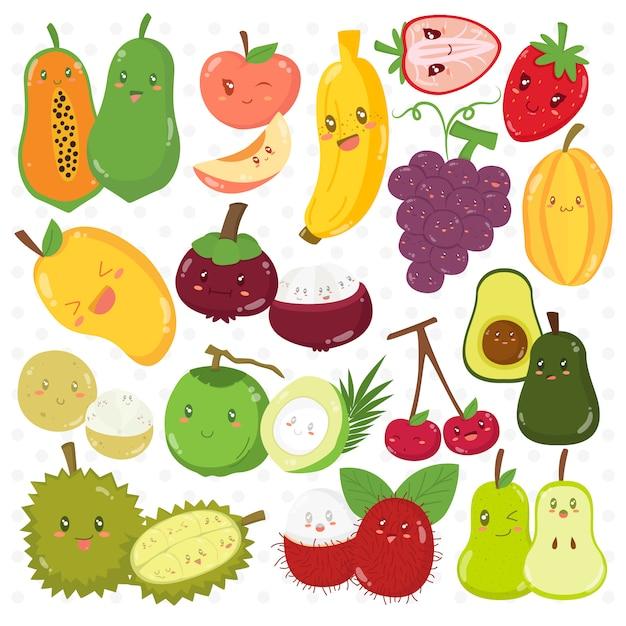 Conjunto de coleta de vetor de personagens de desenhos animados de frutas engraçadas Vetor Premium