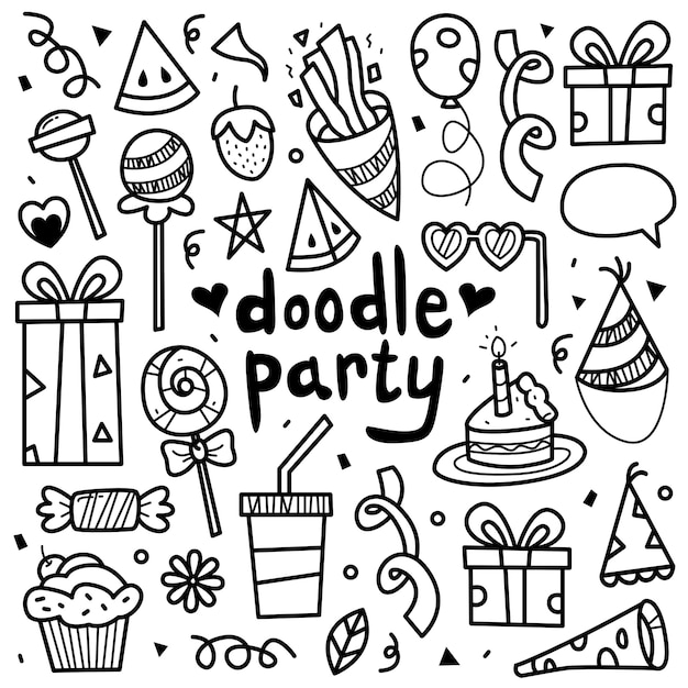 Conjunto de coleta doodle de elemento de festa. Vetor Premium