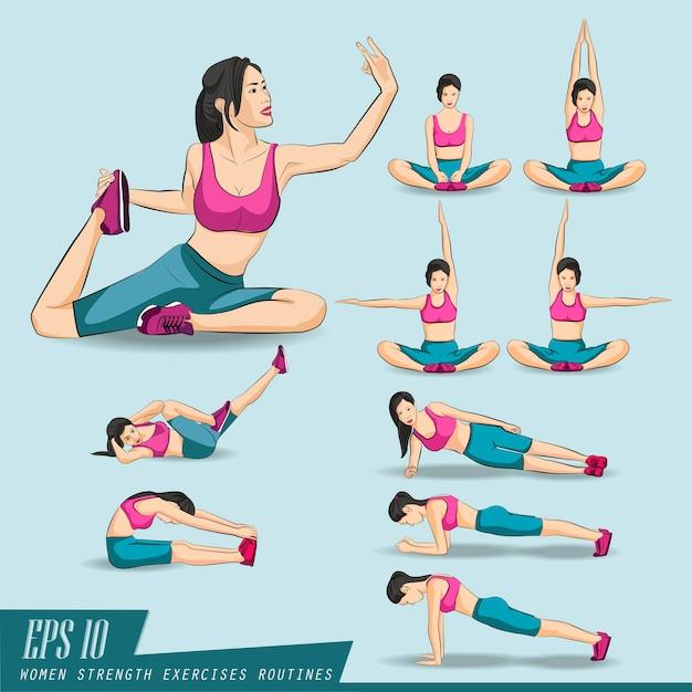 Conjunto de coleta. mulher, fazendo, condicão física, e, ioga, exercícios Vetor Premium