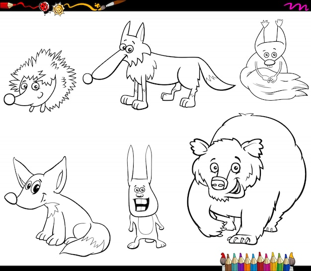 Conjunto De Colorir De Caracteres De Animais Selvagens Vetor Premium
