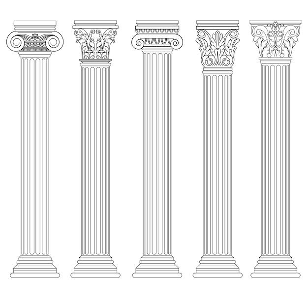 Conjunto de colunas romanas, pilar grego arquitetura antiga, grécia antigas colunas dóricas, jônicas e coríntias. Vetor Premium