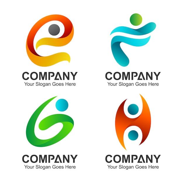 Conjunto de combinação de letra inicial com forma de pessoas Vetor Premium
