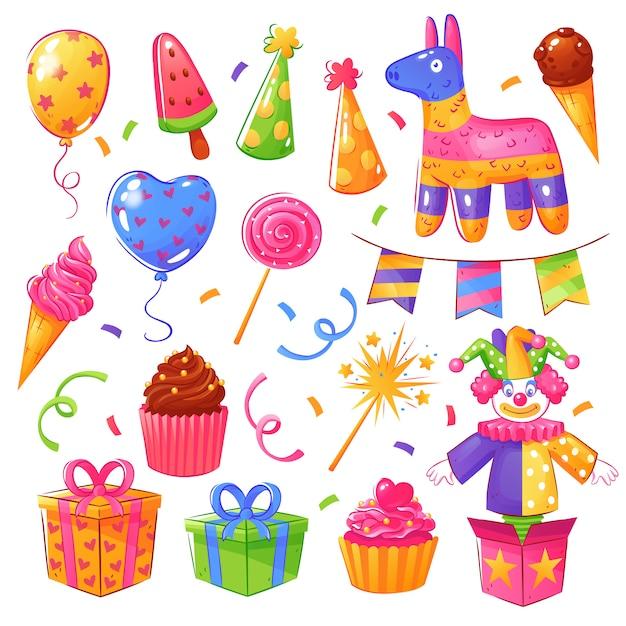 Conjunto de comemoração de festa de aniversário Vetor grátis