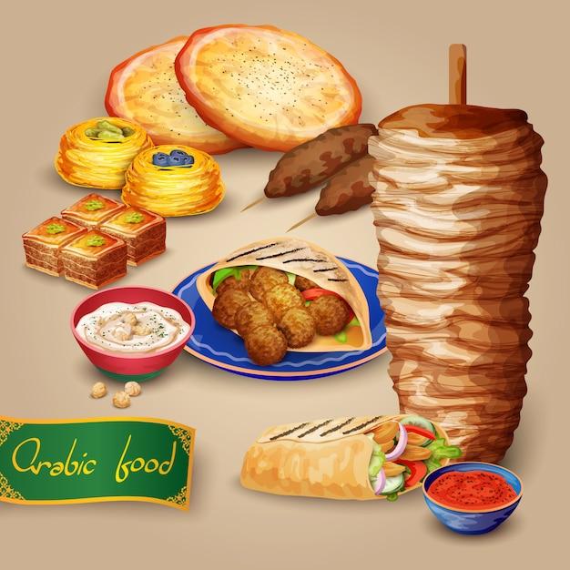 Conjunto de comida árabe Vetor grátis