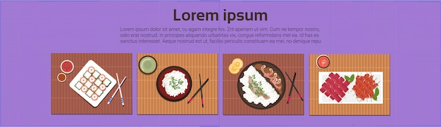 Conjunto de comida asiática sushi coreano tailandês pratos top ângulo vista modelo fundo banner horizontal Vetor Premium