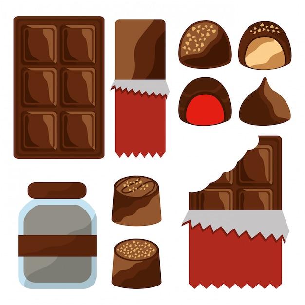 Conjunto de comida de chocolate Vetor grátis