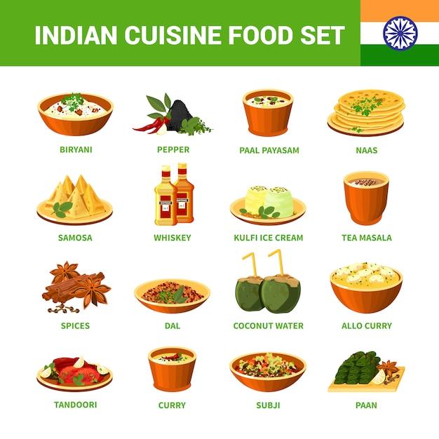 Conjunto de comida de cozinha indiana Vetor grátis