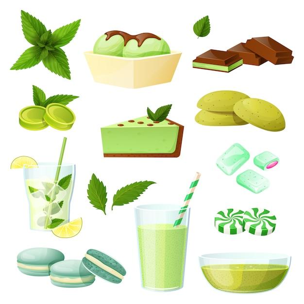 Conjunto de comida de hortelã, coleção de sobremesas e bebidas em branco, ilustração Vetor Premium