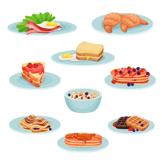 Conjunto de comida de menu de café da manhã, acon, ovos fritos, croissant, sanduíche, panquecas, muesli, bolachas ilustração sobre um fundo branco Vetor Premium