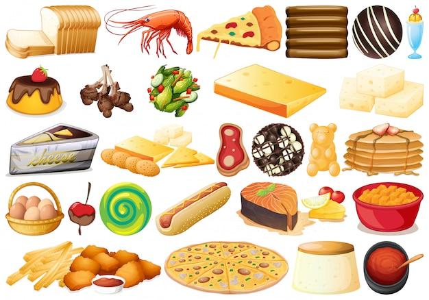 Conjunto de comida diferente Vetor grátis