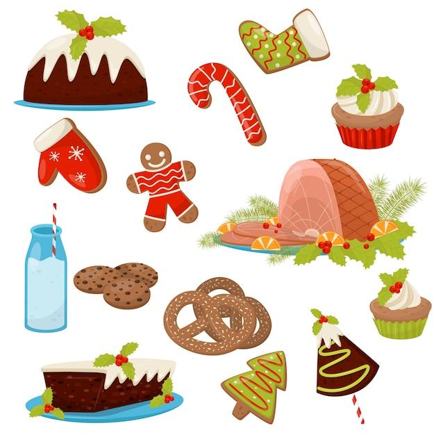 Conjunto de comida e bebidas de natal. presunto apetitoso, bolos caseiros, biscoitos, cana doce, leite, biscoitos e cupcakes Vetor Premium