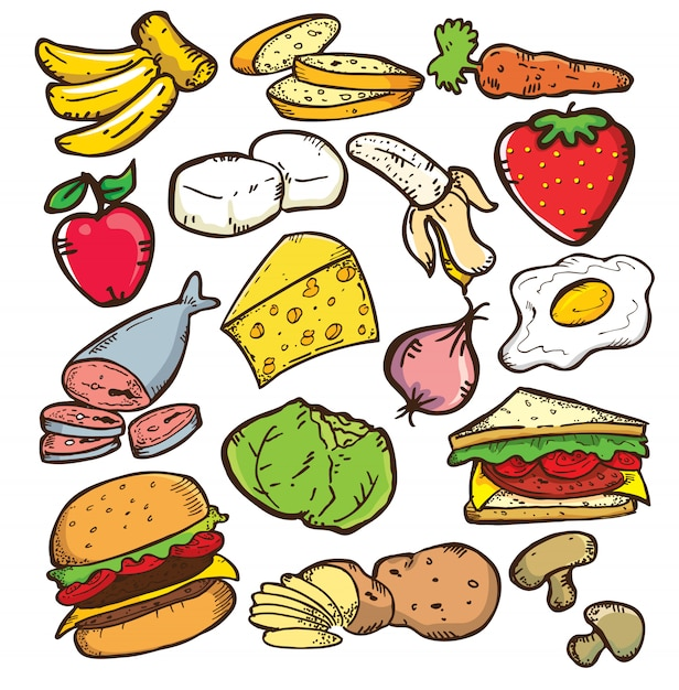 Conjunto de comida em estilo doodle Vetor Premium