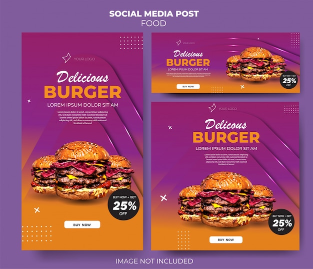 Conjunto de comida gradiente roxo feed de modelo de mídia social Vetor Premium