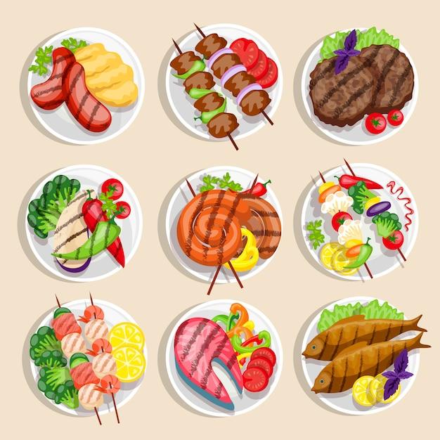 Conjunto de comida grelhada Vetor grátis