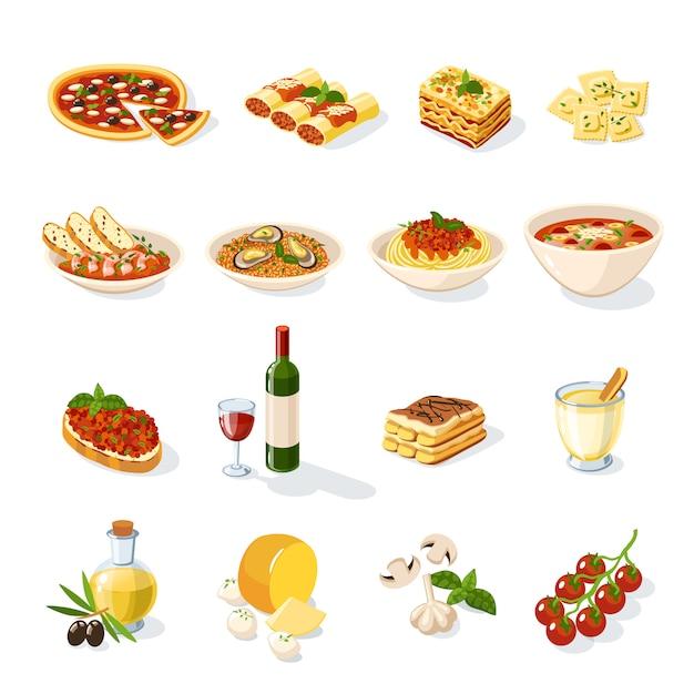 Conjunto de comida italiana Vetor grátis