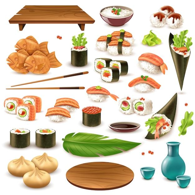 Conjunto de comida japonesa Vetor grátis