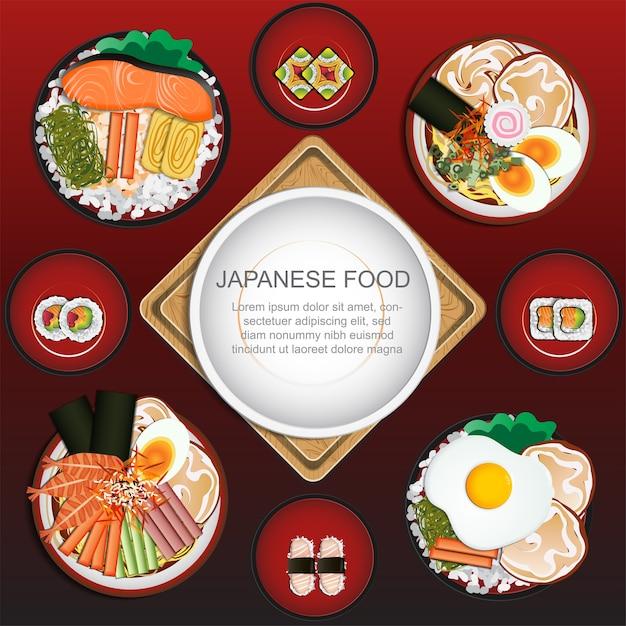 Conjunto de comida japonesa Vetor Premium