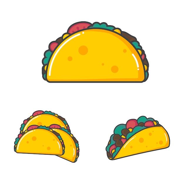 Conjunto de comida mexicana de taco de ilustração vetorial em estilo design plano Vetor Premium