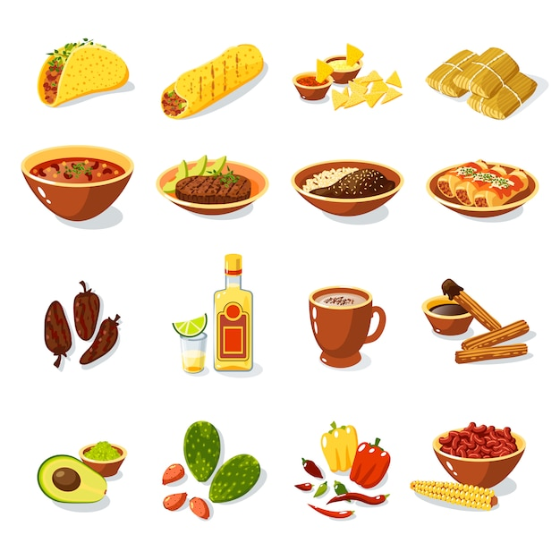Conjunto de comida mexicana Vetor grátis
