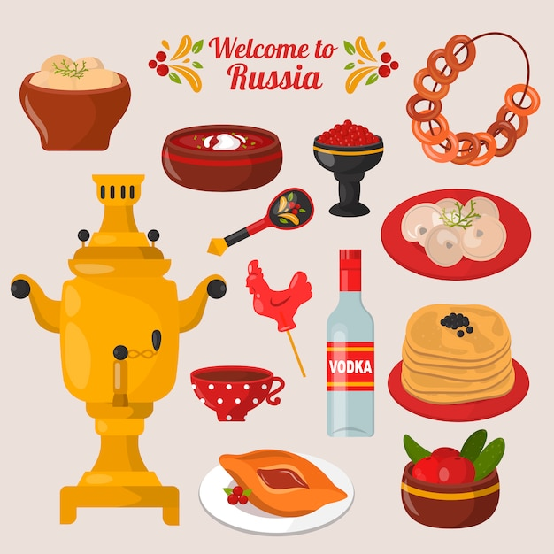 Conjunto de comida nacional russa Vetor Premium
