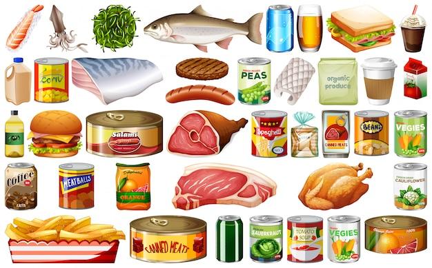 Conjunto de comida no fundo branco Vetor grátis