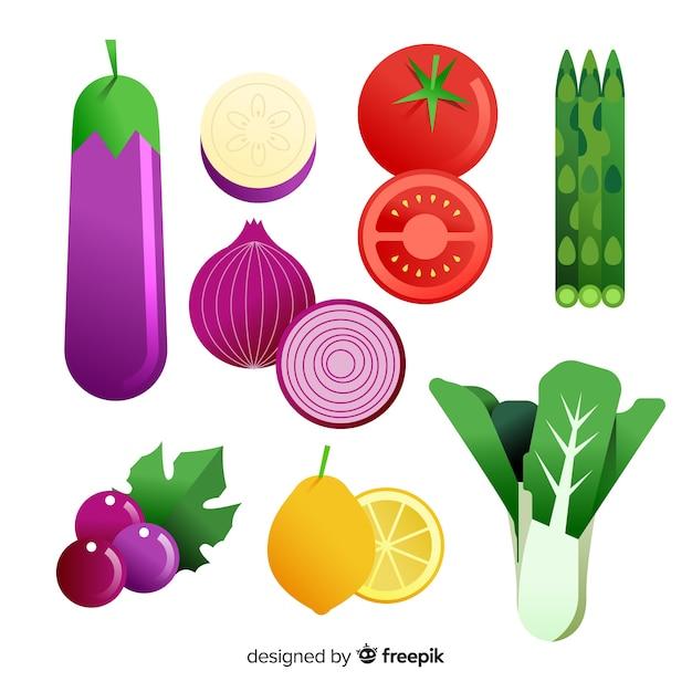 Conjunto de comida saudável colorido liso Vetor grátis