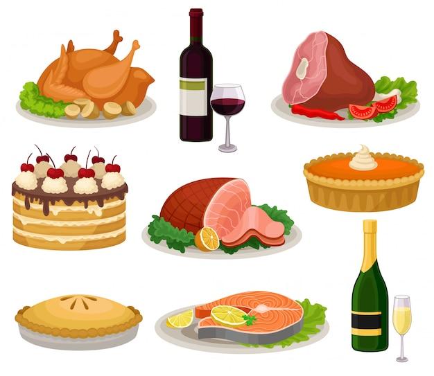Conjunto de comida tradicional do feriado e bebidas. saborosa refeição e bebida. ilustração colorida sobre fundo branco. Vetor Premium