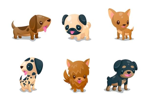 Conjunto de companheiros fofos de cachorro Vetor grátis