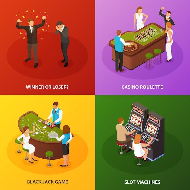 Conjunto de composições de jogo de casino slot machine roleta black jack Vetor grátis