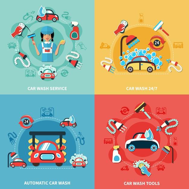 Conjunto de composições de lavagem de carros Vetor grátis
