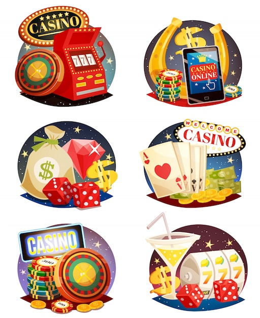 Conjunto de composições decorativas de casino Vetor grátis