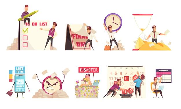 Conjunto de composições isoladas dos desenhos animados sobre o tema de gerenciamento de tempo, planejamento de calendário, cronograma e prazo Vetor grátis