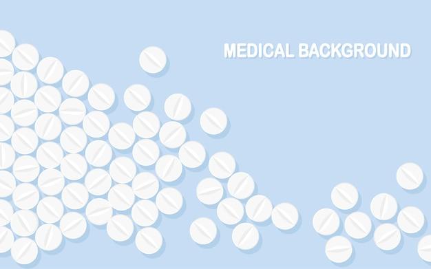 Conjunto de comprimidos, medicamentos, drogas. comprimido analgésico, vitamina, antibióticos farmacêuticos. formação médica. Vetor Premium