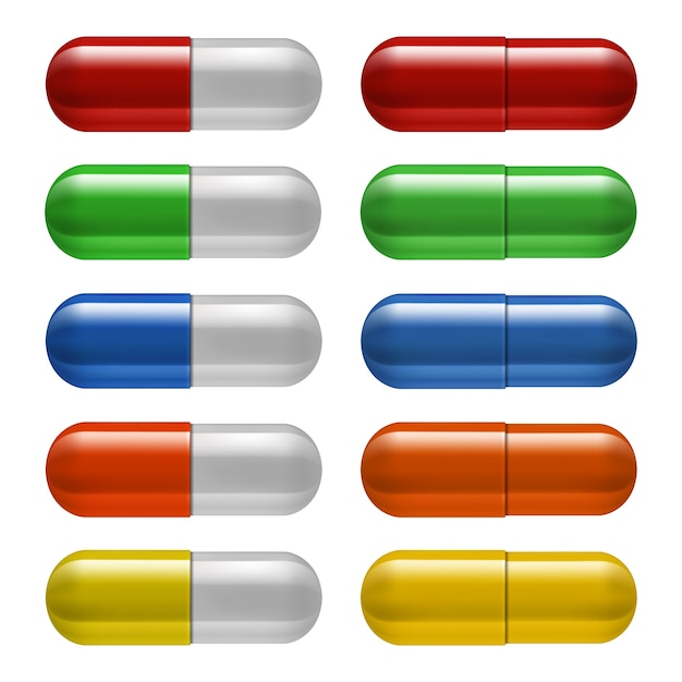 Conjunto de comprimidos médicos, cores diferentes. ilustração Vetor Premium