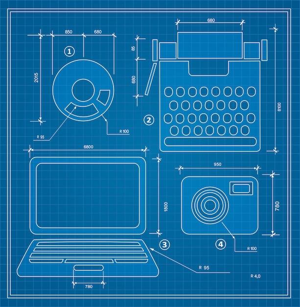 Conjunto de computador pessoal de projecto de esboço de plano de projeto Vetor Premium
