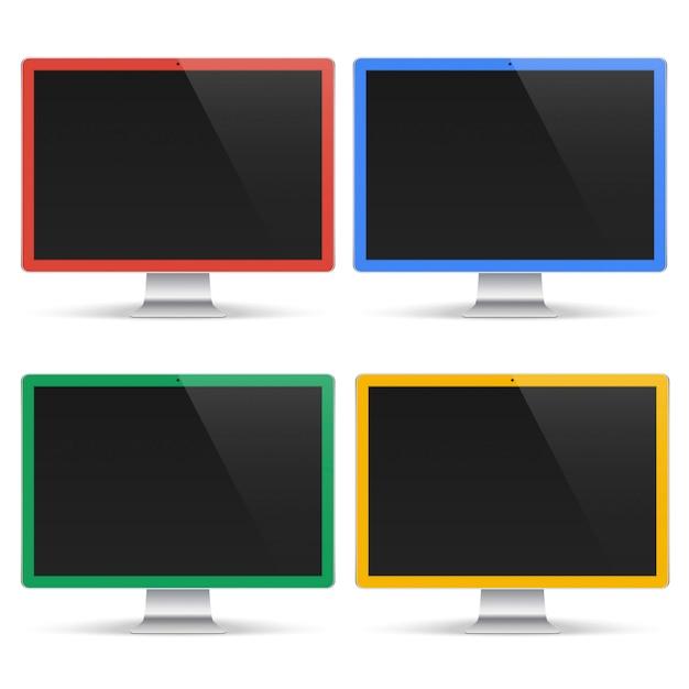 Conjunto de computadores coloridos com tela preta, isolado no fundo branco. maquete realista do monitor Vetor Premium