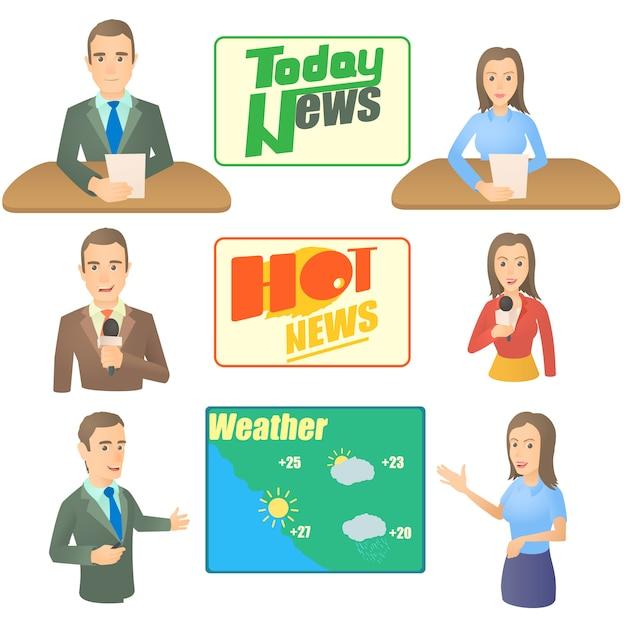 Conjunto de conceito de apresentador de notícias Vetor Premium