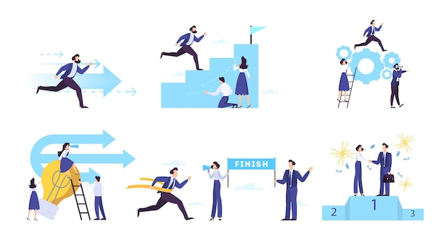 Conjunto de conceito de banner web de aspiração e objetivo de negócios. Vetor Premium