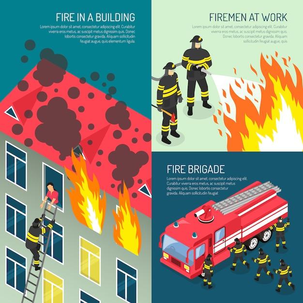 Conjunto de conceito de design de bombeiros Vetor grátis