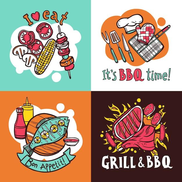 Conjunto de conceito de design de churrasco grill Vetor grátis