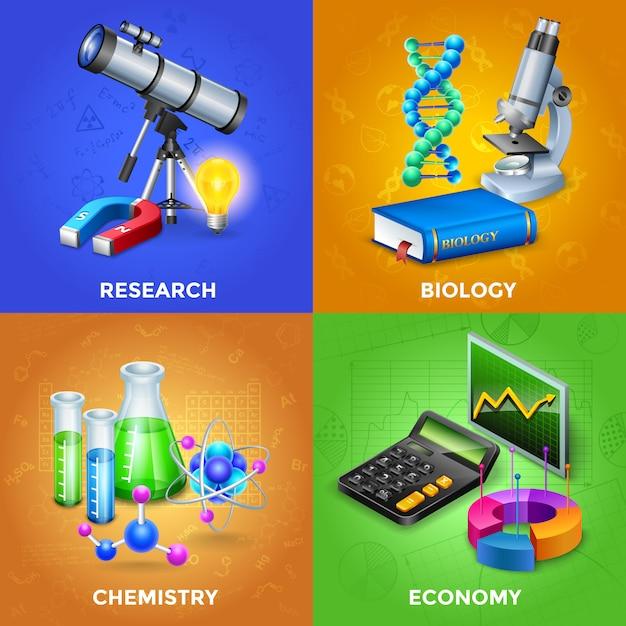 Conjunto de conceito de design de ciência Vetor grátis