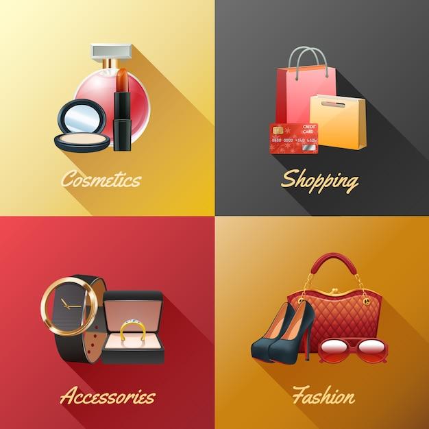 Conjunto de conceito de design de compras de mulheres Vetor grátis