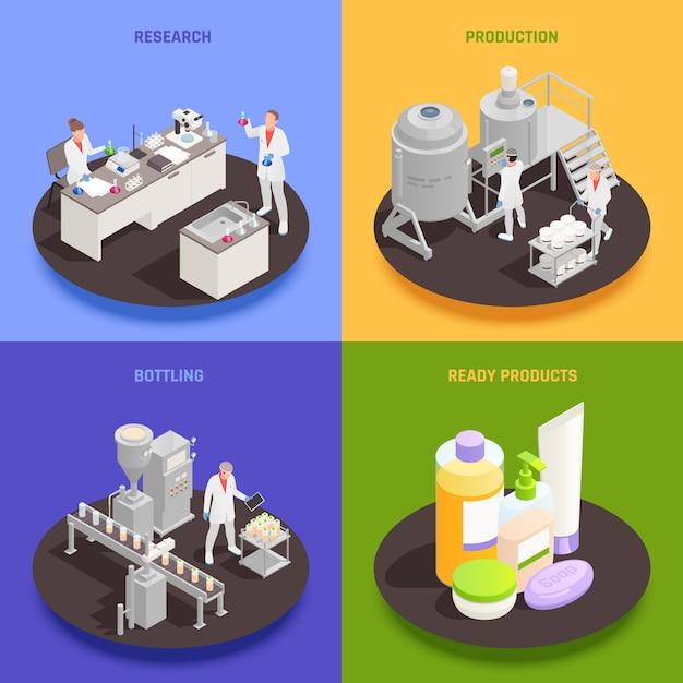 Conjunto de conceito de design de cosméticos 2x2 de engarrafamento de produção de pesquisa e composições quadradas de produtos prontos isométrico Vetor grátis
