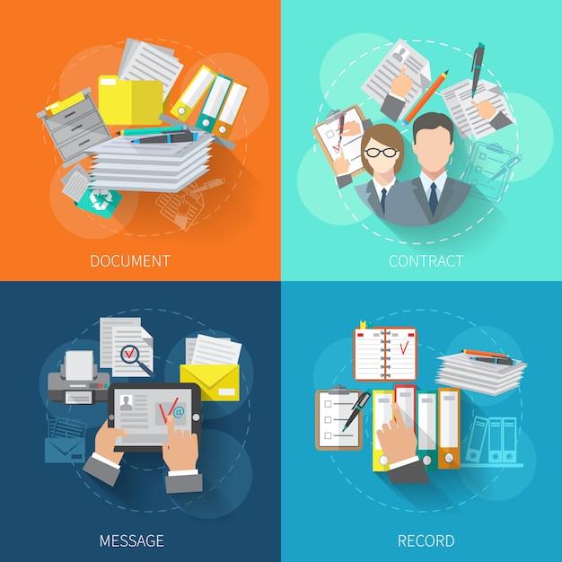 Conjunto de conceito de design de documento Vetor grátis